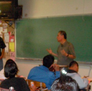Compa Ernesto while teaching at Memorial Junior High, Room 507.